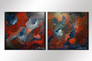 Paul Smidt abstract rood blauw 90x90 2x