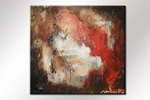 Paul Smidt abstract rood wit 90x90